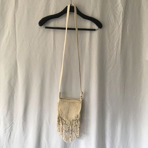 American Eagle Cream Fringe Cross Body Bag